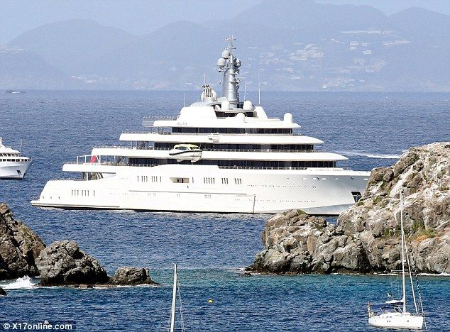 Christmas getaway: The Russian oligarch moored his £1.5billion mega-yacht, The Eclipse, on the island