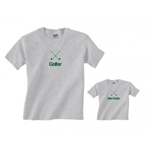 e8776692a GOLFER & MINI GOLFER Matching Family Golf Shirts in Grey | Father ...