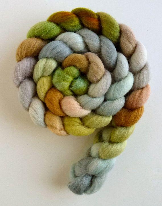 Polwarth/Silk Wool Roving  Hand Painted by threewatersfarm on Etsy, $22.95