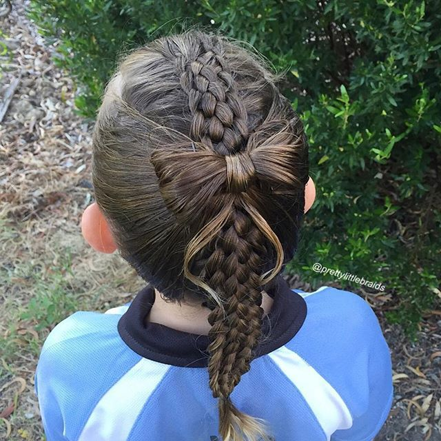""" A seven strand braid today with a bow over the top. This would look gorgeous if she was in pretty clothes for a party. Inspired somewhat by a newer account @hair.by_ivy.ng   #7strandbraid #hairbow"" Photo taken by @prettylittlebraids on Instagram, pinned via the InstaPin iOS App! http://www.instapinapp"