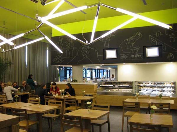 Luminous cafe and restaurant interior lighting design