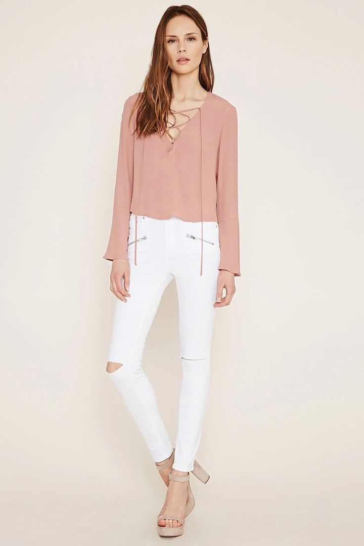 Forever 21 Contemporary - A pair of skinny jeans with a five-pocket construction, zipper accents on the front, distressing on the knees, and a zip fly. #f21denim