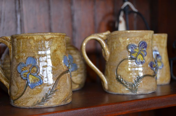 Pansies sculpted on stoneware pottery from Pottery by Chaucy.