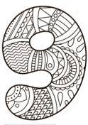 Number 9 Zentangle Coloring page
