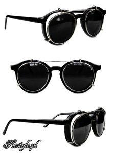 Round steampunk sunglasses - BLACK CHROME