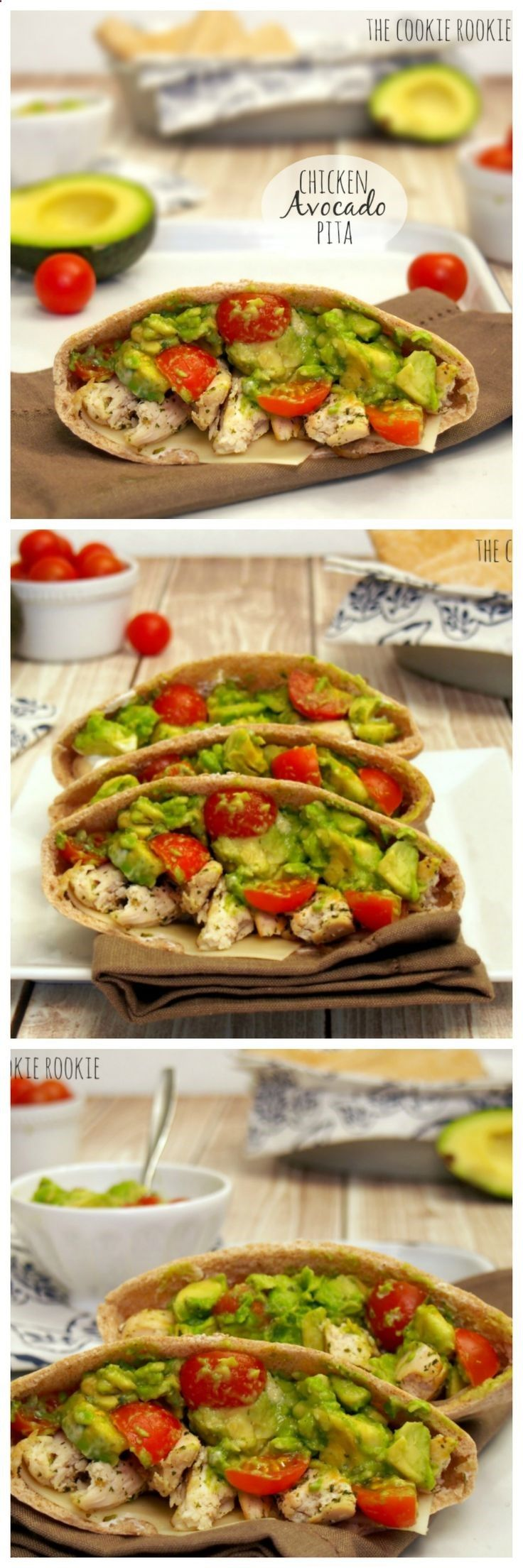 Chicken avocado pita