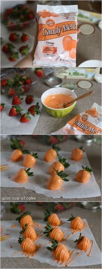 Chocolate covered strawberries turned into carrots for the Easter Bunny!