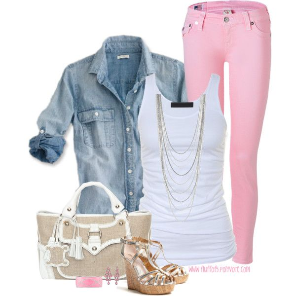 """J Crew denim shirt"" by fluffof5 on Polyvorem - the pink pants look AMAZING!!"
