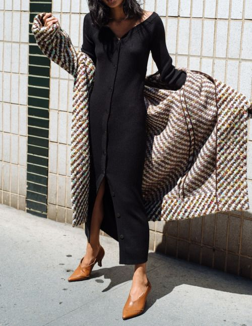 Style: Tweed overcoat, cotton cardigan dress and leather pointed toe shoes