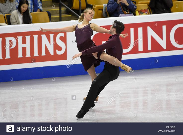 Tuesday, March 29, 2016: Madison Hubbell and Zachary Donohue (USA) skate during a practice session at the International Skating Union World Championship held at TD Garden, in Boston, Massachusetts. Eric Canha