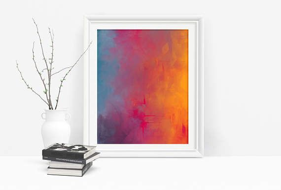 Printable Abstract Art in Yellow, Pink and Blue by Playful Pixie Studio.  Add a bright splash of colour to any decor with this printable.  An affordable way to add art to any wall.  Just download, print and hang :)  #abstractart #wallart #shopsmall