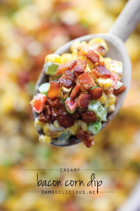 Bacon+Corn+Dip+-+This+dip+is+unbelievably+creamy+and+addicting.+It's+so+good,+you'll+want+to+just+skip+the+chips+and+eat+this+with+a+spoon!