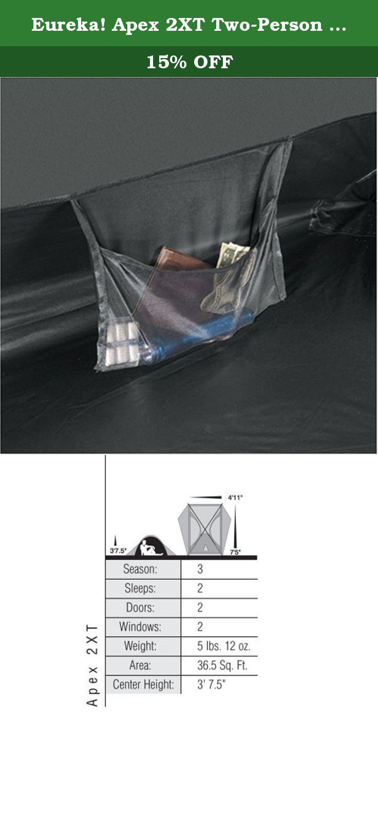 Eureka! Apex 2XT Two-Person Tent. Original Apex styling with 2 mesh doors and 2 full coverage vestibules.