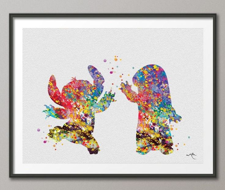 Lilo and Stitch inspired Watercolor Print  illustrations Art Print for Kids Christmas Gift Wall Nursery Decor Art Wall Hanging [NO 174]