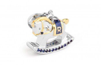 Rosato Charm My Toys 925 silver with 18k gold-plated details, blue pavè cubic zirconia and blue enamel TO001