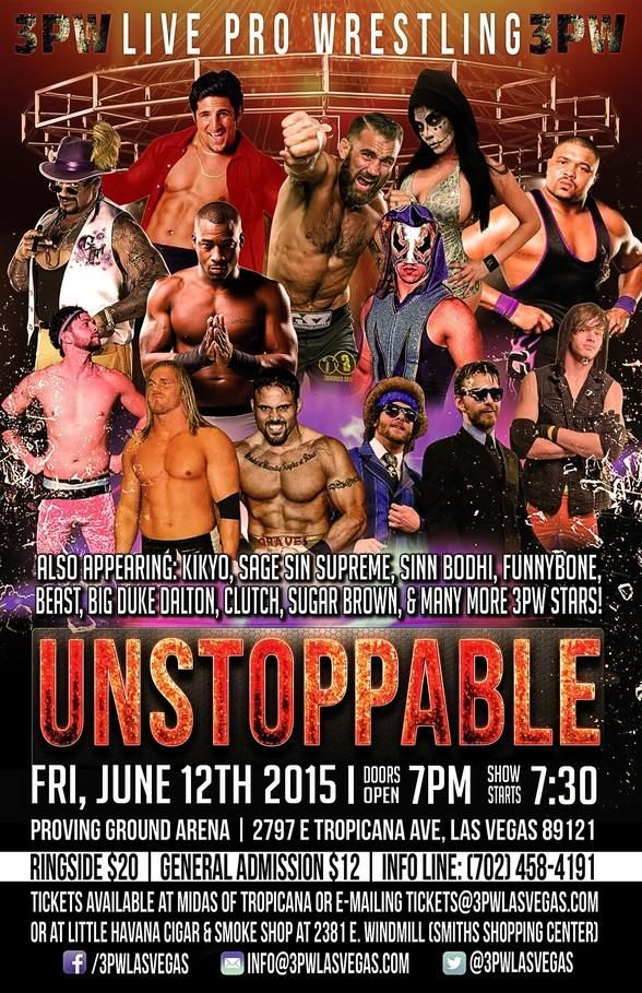 "3PW​ Live Pro Wrestling ""Unstoppable"" returns to Proving Ground Arena THIS FIRDAY JUNE 12 with The Fallen Flower Kikyo​, Remy Marcel​, Jack Manley​, Phil Baroni​, Sugar Brown​, Clutch Kucera​, Damian Drake​, Sage S Upreme​, Sinn Bodhi​, Iam Funnybone​, @Hard Hard Body Photography​, Gordon McCarthy​"
