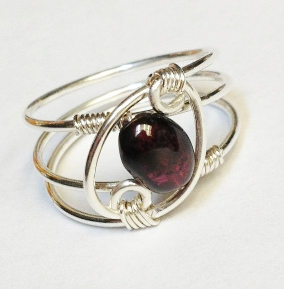 Garnet Ring  Garnet Jewelry  January Birthstone by SpiralsandSpice, $24.95