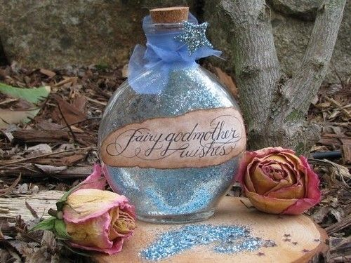 Fairy Godmother Dust...where do I get someFairies Dust, Magic, Fairies Godmother, Decor Bottle, Dreams Come True, Glitter, Jars, Cinderella Parties, Fairies Tales