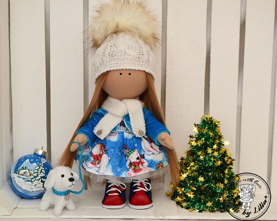 Winter doll Fabric art doll textile doll with a dog Christmas Dolls  winter doll  fabric art doll  textile doll  doll with a dog  rag doll  cloth doll christmas doll  interior doll  tilda doll  doll with a hat  doll for a gift  christmas  christmas decor