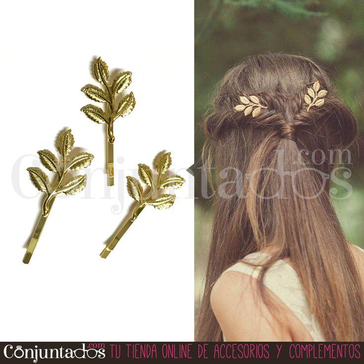 Con nuestras #horquillas #doradas con adorno de #hojas puedes dar un aspecto #romántico a tu #pelo en segundos. Prueba a sujetar con nuestras horquillas una coleta o un moño bajo o hazte un semirecogido con ellas. Vienen en pack de tres unidades ★ Precio: 5'95 € en http://www.conjuntados.com/es/horquillas-doradas-hojas.html ★ #novedades #paratupelo #leaves #hair #accesorios #complementos #estilo #style #moda #fashion #GustosParaTodas #ParaTodosLosGustos