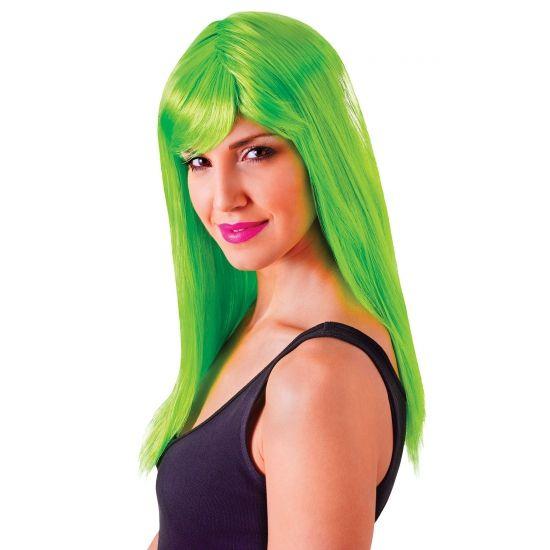 Verkleed damespruik neon groen met pony  Lange neon groene damespruik met pony. Neon groene damespruik van synthetisch materiaal met pony. De pruik is one size en geschikt voor volwassenen.  EUR 12.95  Meer informatie