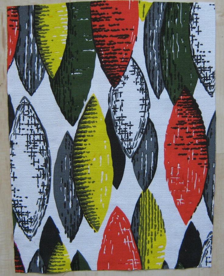 Vintage Barkcloth Fabric Remnant 50s Atomic