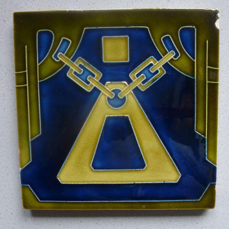SELTEN! Jugendstil Fliese Kachel art nouveau tile tegel carreau Wienerberger