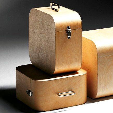 birch LP storage boxes made by Finnish designer Harri Koskinen