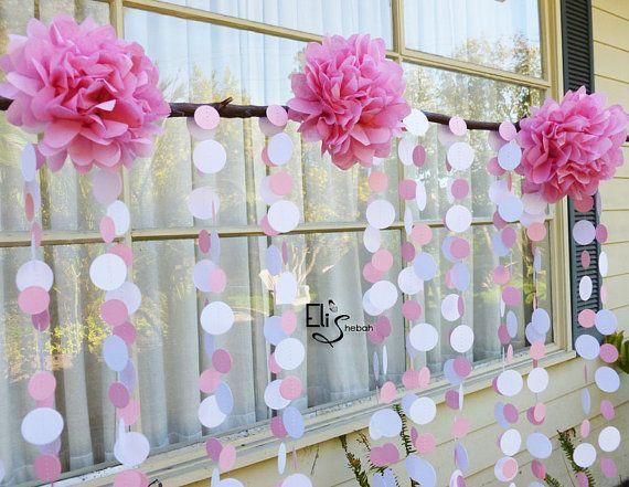 Custom Wedding Decoration - Polka dot paper garland strand - birthdays showers Christening - circles - SET of Four via Etsy