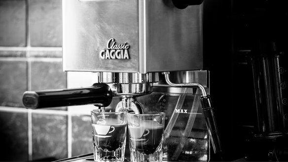 Black and white Gaggia machine