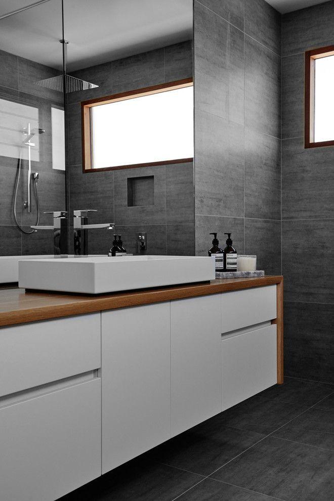 option white vanity with wood look laminate