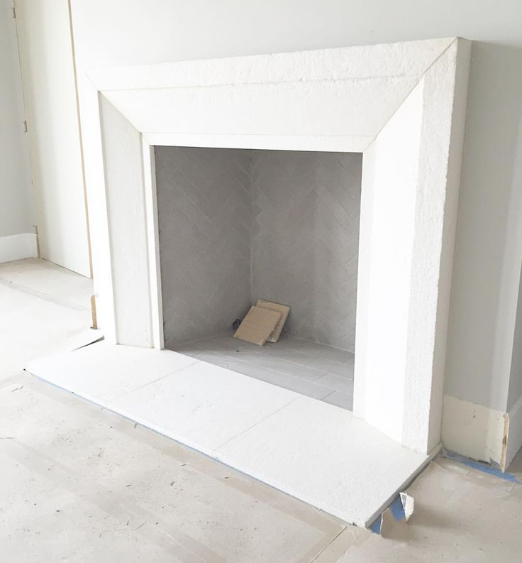 Clean lines on this custom modern tumbled limestone fireplace || making great…