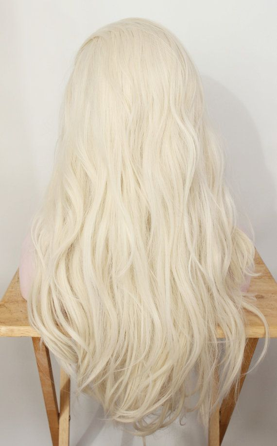 Blonde Lace Front Wig Long Platinum Wig White by MissVioletLace