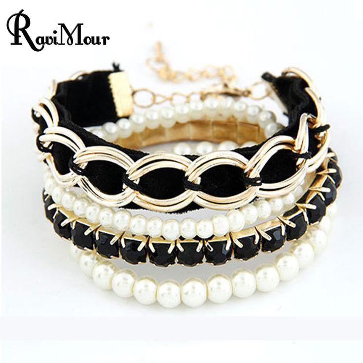 Fashion Pulseiras Femininas Jewelry Multilayers Imitation Pearl Bracelets & Bangles For Women Pulseras Mujer Bijoux Femme Perlas