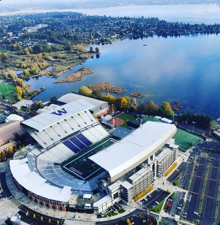 Seattle Map Lake Union%0A Visit Seattle   visitseattle  on Instagram   u   cUW u    s Husky Stadium perched on  the