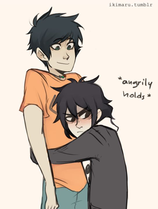 Nico and Percy. Thought this was cute but i DO NOT ship it! | art by ikimaru
