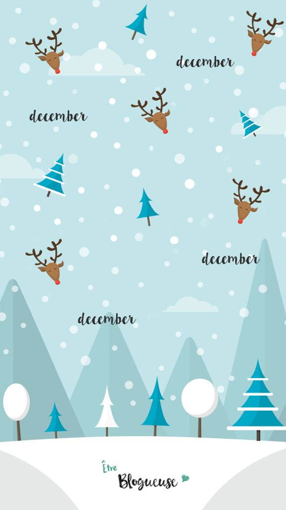 Fond d'écran mignon, wallpaper, pour iphone 4,5,6 sur le thème de l'hiver, Noël et décembre.