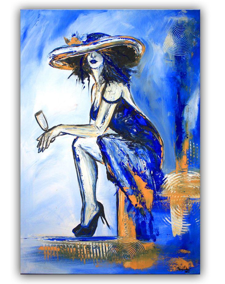 Nix los - Frau mit Sektglas - Moderne Malerei  und Wandbild blau abstrakt #figürlich #figurativ #figurativemalerei #figurativekunst #gemälde #roteskleid #fraublau #blauefrau #frauenbilder #malerei #malereifrau #gemäldefrau #modernekunst #modernemalerei