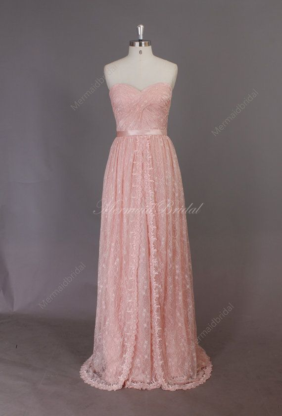 2014 New Light Blush Pink Destination Wedding Dress Beach Dress Formal Prom Dress Lace