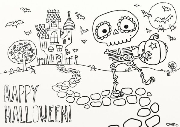 Free skeleton Halloween coloring page printable at Vice Vega ...