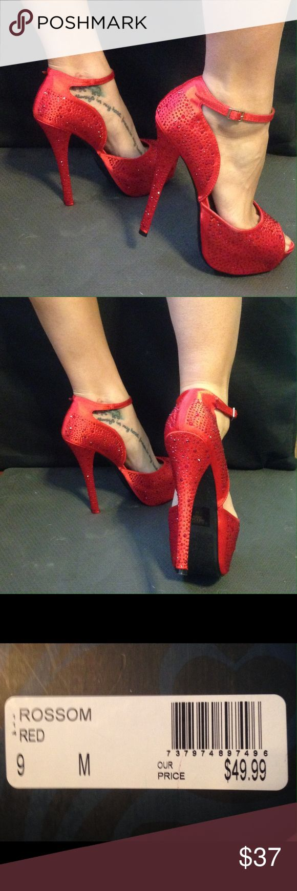 "Y-not? Red Stiletto Heels Brand: Y-not? Size:9M Euro:39 Style: Rossum Color: Red Material: Satin with rhinestones Original price:$49.99 Rhinestones all over 1.5"" platform 4.5"" heel Only worn once Y-not? Shoes Heels"