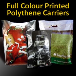 FULL COLOUR POLYTHENE PRINTED CARRIER BAGS
