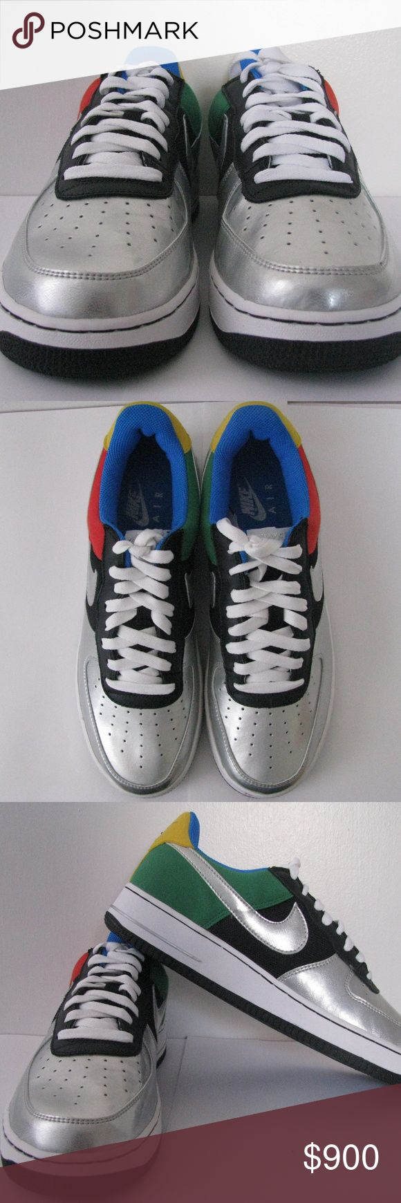 """Nike Air Force 1 Olympic Low This """"Olympic"""" colorway of the Air Force 1 Low from 2004 features a multi-colored upper inspired by the various colors of the Olympic Rings. Rare. Manufacturer Sku:307334 002 Nickname:Olympic Gender:Mens Colorway:BLACK/METALLIC SILVER - CHILE Materials:Leather, Nubuck, Synthetics Nike Shoes Sneakers"""