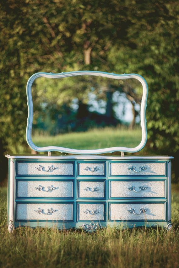 SOLD Vintage Serpentine French Provincial Style 9 Drawer Dresser in Turquoise and White