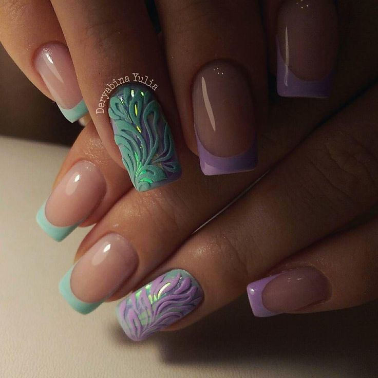 April nails, French manicure ideas, Ideas of colorful nails, Multi-colored french manicure, Ring finger nails, Shellac nail colors, Spring french manicure, Spring nail art