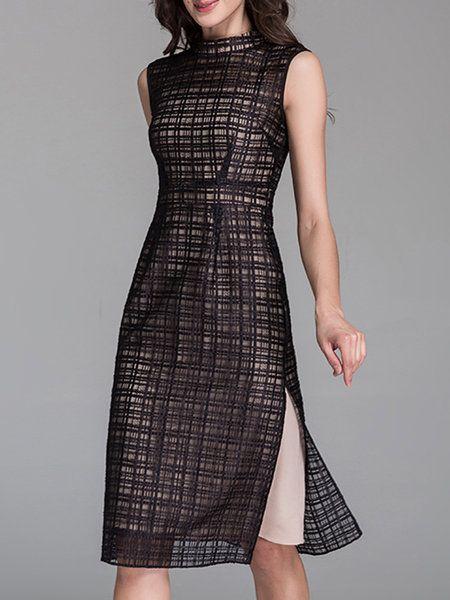 Shop Midi Dresses - Black Sleeveless Two Piece Midi Dress online. Discover unique designers fashion at StyleWe.com.
