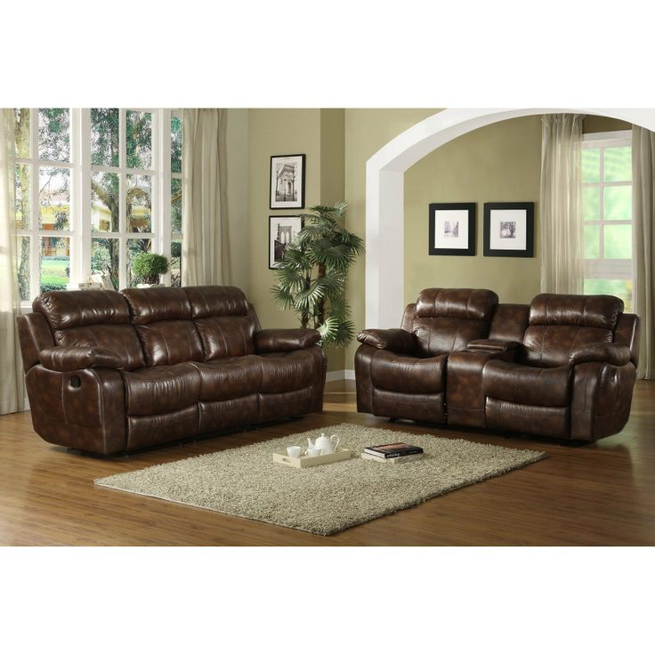 Sectional Sofas FurnitureMaxx Marille Double Reclining Sofa w Center Drop Down Cup Holders Brown Polished Microfiber