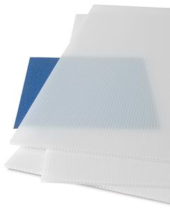 "$3.99 each - Corrugated Plastic Panels   - weather-resistant, UV-stable, and durable. Each 20"" × 30"" (508 mm × 762 mm) panel measures 4 mm thick. The flute runs parallel to the long side.  The translucent panels would be great in place of glass panel for kitchen cabinetry.    http://www.dickblick.com/products/corrugated-plastic-panels/?wmcp=amazon=feeds=13215-1603"