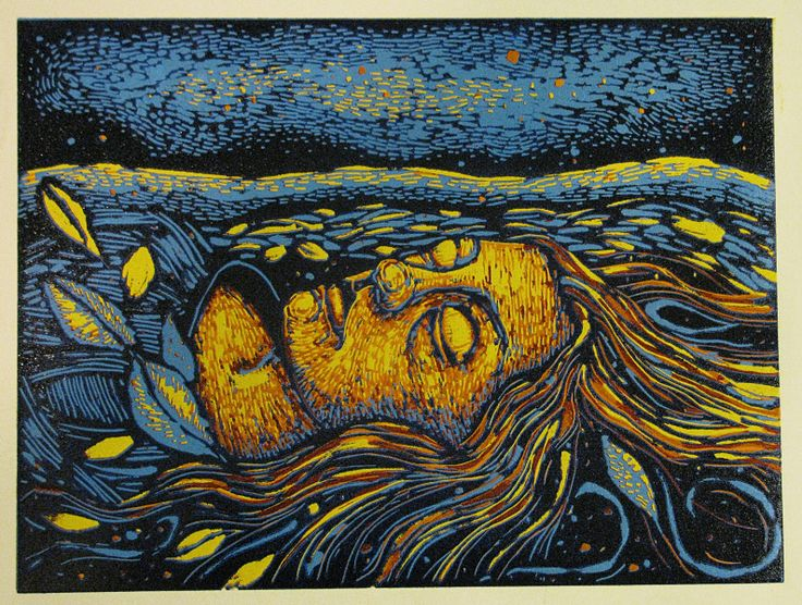 Caitlin As Ophelia Color Reduction Lino Print