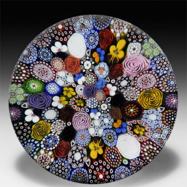 Mike Hunter 2014 close packed millefiori magnum glass paperweight. by Twists Glass Studio